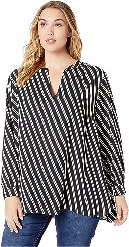 Plus Size Double Stripe Print Split-Neck Top