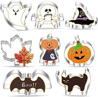 Halloween Emporte Pièce, 8 Piece Moule à Biscuit Halloween, Acier Inoxydable Emporte Pièces - Citrouille, Chauve-Souris, S...