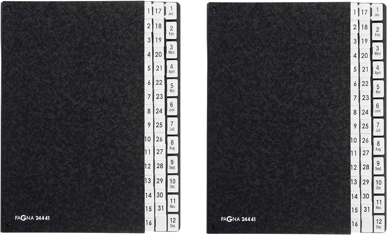Pagna Pultordner Classic (Pultmappe, 44 Fächer, Fächer, Fächer, 1-31 1-12 Jan-Dez) schwarz (2 Mappen, 44-teilig) B07QHKT1YW | Nutzen Sie Materialien voll aus  dba432