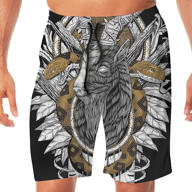 PEKIVIDE Goat Satanic Snake Men's 3D Print Novelty Board Shorts Quick Dry Swim Trunks with Pocket