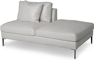 Michael Amini Aeria RSF Bumper Sofa, Brushed Nickel