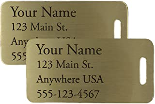 Deeply Engraved Custom Metal Luggage Tags (Two, Small Brass)