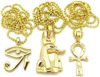 Fashion 21 Egyptian Ankh Cross, Eye of Horus, Anubis Head Pendant 2mm 24