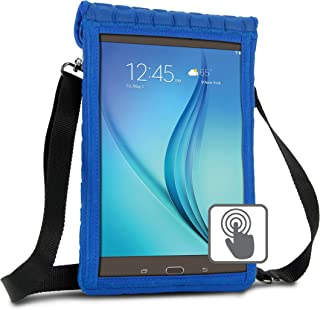 USA GEAR 10 inch Tablet Case Cover Compatible with Samsung Galaxy Tab A 10.1 and 10.5, Galaxy Tab S5e 10.5, Lenovo Tab4 10, More 10 inch Tablets - Built-in Screen Protector & Carry Strap (Blue)