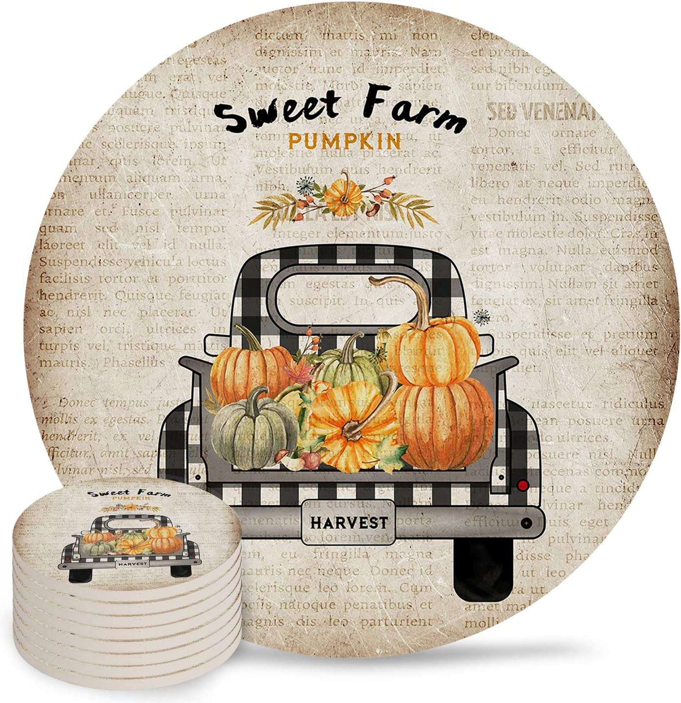 Sweet Farm Pumpkin 8-Piece Colorado Springs Mall Set Drinks for Absorbent Cer Animer and price revision Coaster