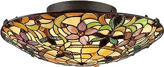 Quoizel TF1396SVB Tiffany Flush Mount Ceiling Lighting, 2-Light, 150 Watts, Vintage Bronze (6