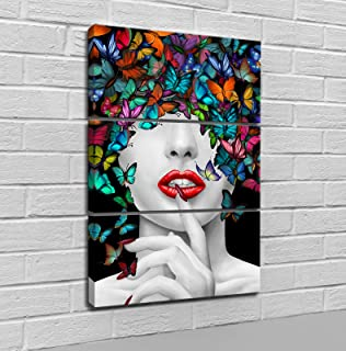 LoveHouse 3 Pieces Wall Art Abstract Beautiful Sexy Woman Colorful Butterfly Printing on Canvas Red Lip Painting Picture Contemporary Girl Room Decoration Ready to Hang 12x24inchx3pcs