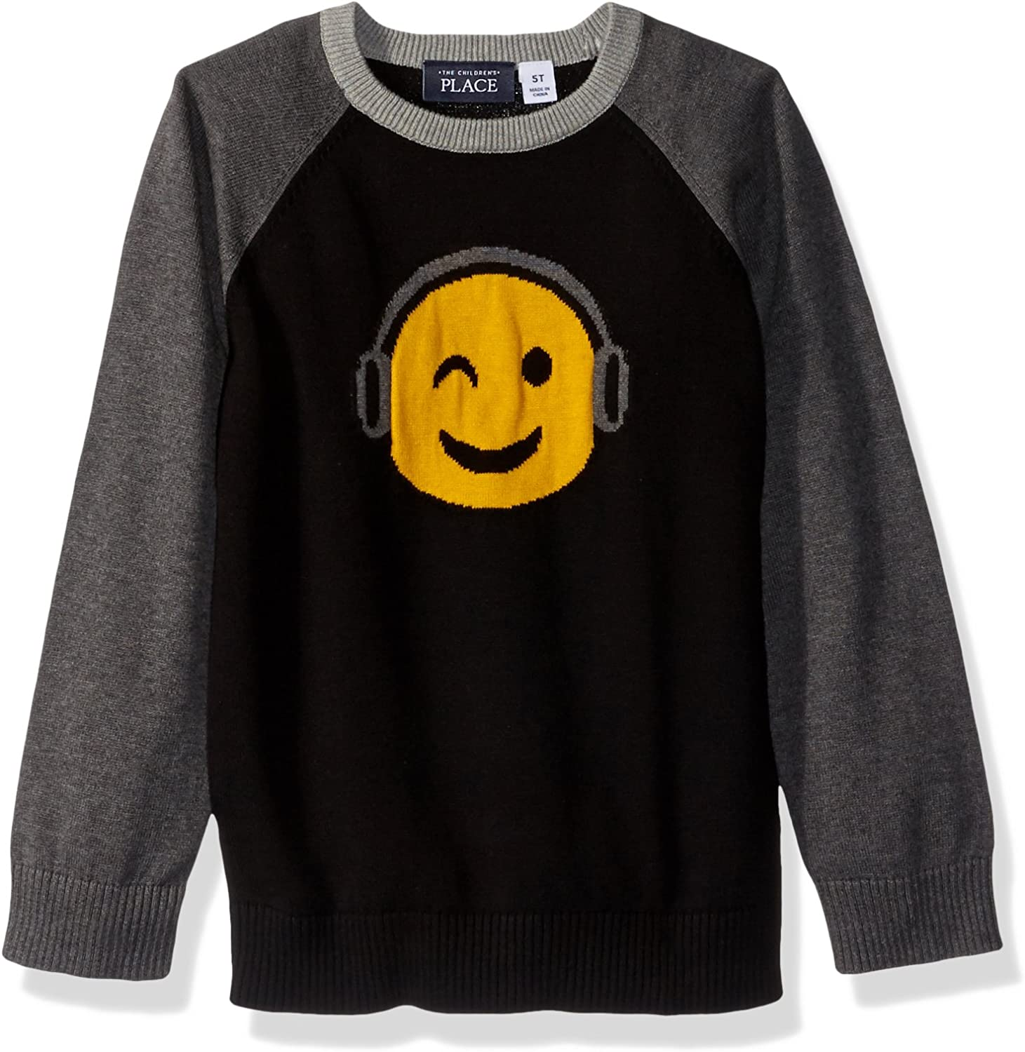 The Children's Place Baby Boys' Intarsia Sweater 2084663015, Black, 4T