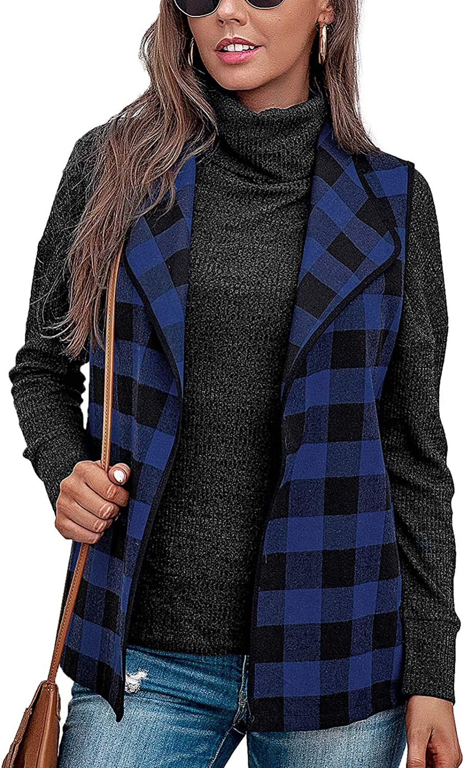 WUAI-Women Plaid Vests Lapel Drape Open Max 84% OFF Slee Buffalo Animer and price revision Front