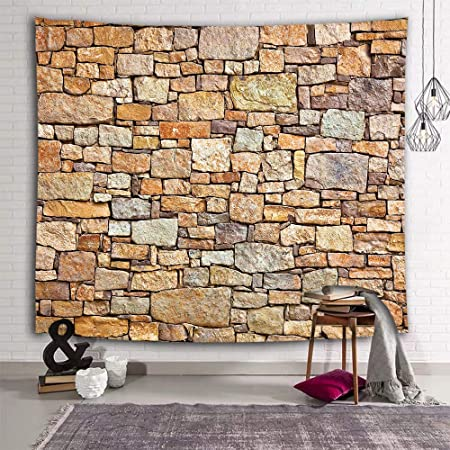 Art 3D Stone Brick Decorative Tapestry Wall Hanging Living Room Home Decoration