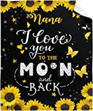 Sunflower I Love You to The Moon and Back Mom Gift Throw Blanket Flannel Air Conditioning Quilt Best Mom Gifts Lightweight...