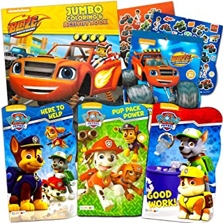 Paw Patrol Board Book Super Set with Stickers (3 Paw Patrol Books, 1 Blaze and Monster Machines Book, 1 Sticker Pack)