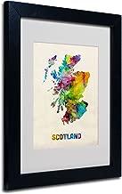 Scotland Watercolor Map by Michael Tompsett, White Matte, Black Frame 11x14-Inch
