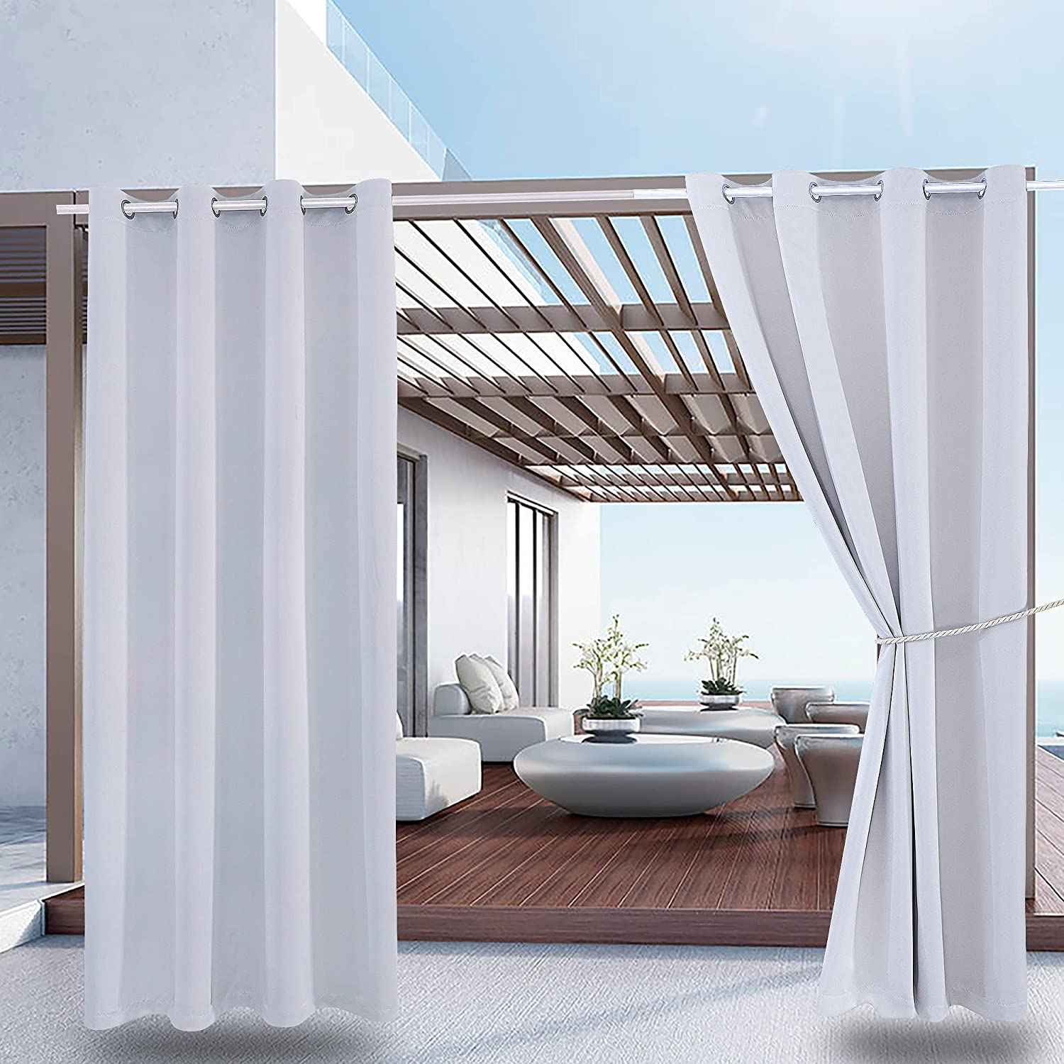 2 Panels Waterproof Outdoor Curtain Direct store W52 Heavy 230GSM L84 Dut San Francisco Mall - x
