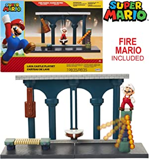 "Nintendo Super Mario Lava Castle Deluxe Play Set, Includes: 2.5"" Fire Mario Figure & Mechanical Features, Spinning Fireballs Tower, Swinging Pendulum, Bone Lift & Bridge"
