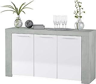 Habitdesign Aparador Buffet Moderno Armario Auxiliar Comedor Modelo Ambit Color Blanco Artik y Gris Cemento Medidas: ...