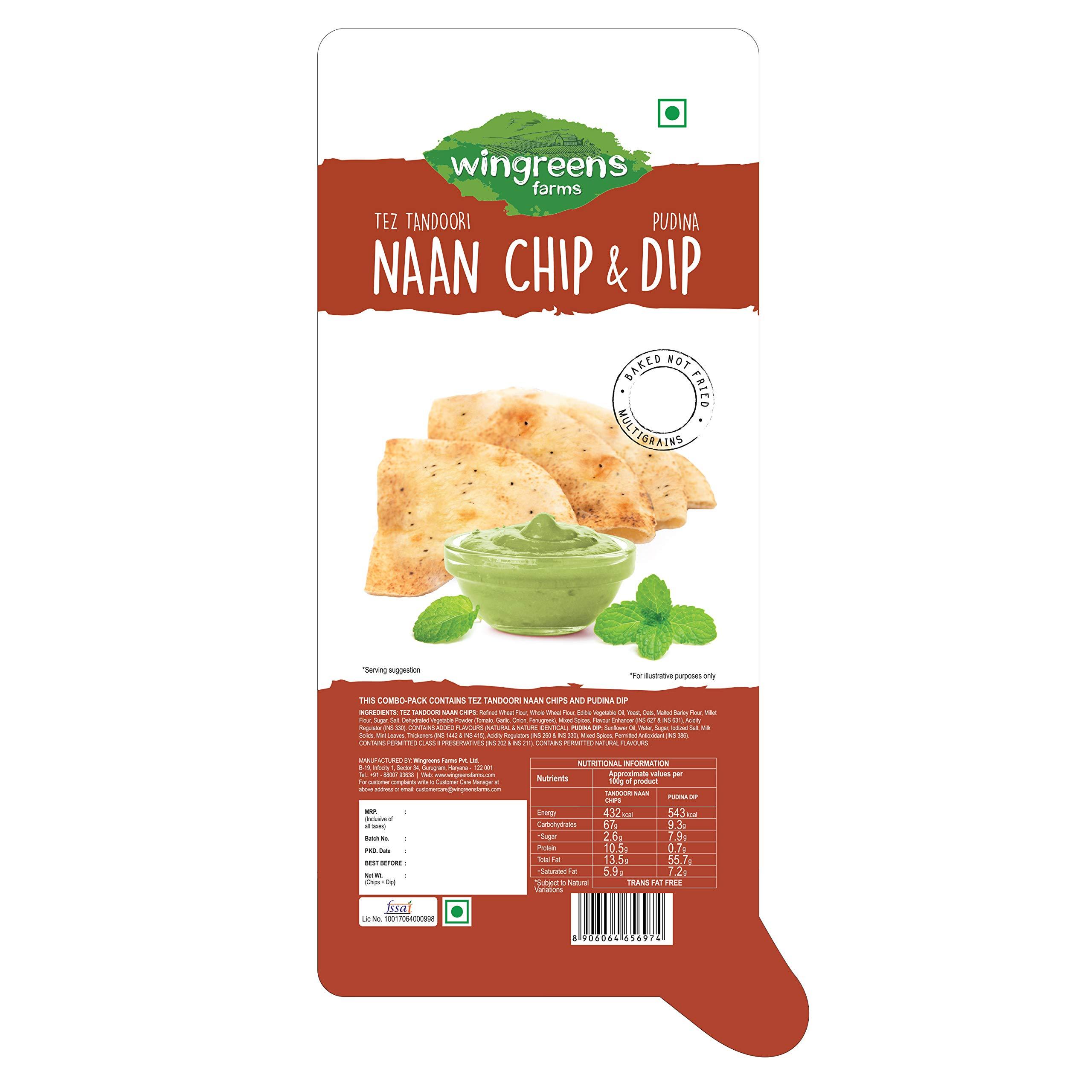 Wingreens Farms Tandoori Naan Chips + Pudina Dip