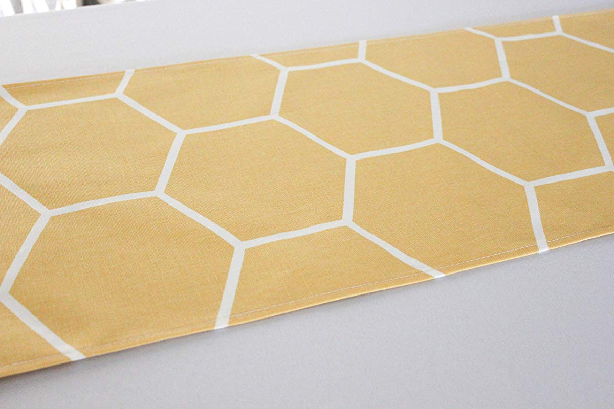 12x96 Inches Yellow Honeycomb Bee Themed Table Runner