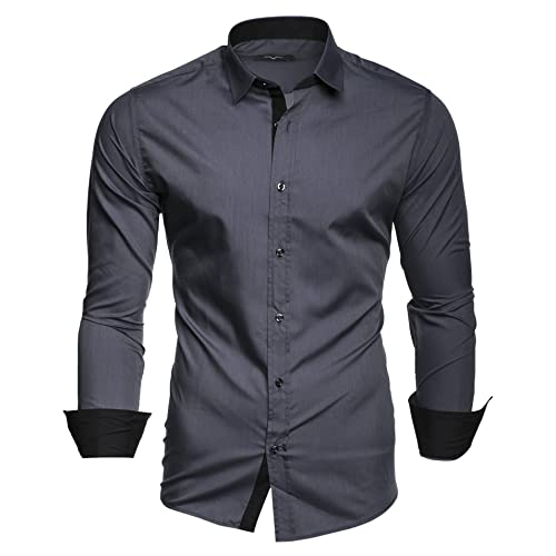 f98c1ec6033 Kayhan Hombre Camisa Manga Larga Slim Fit S-6XL - Modello Twoface + London