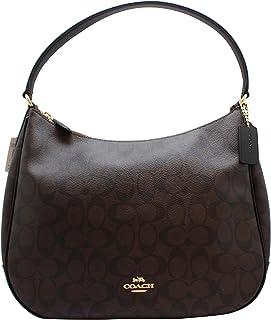 Coach Signature Canvas Leather Zip Shoulder Bag in Brown/Black