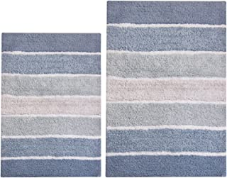 Chardin Home - 100% Pure Cotton - 2 Piece Cordural Stripe Bath Rug Set, (21''x34'' & 17''x24'') Blues with Latex spray non-skid backing