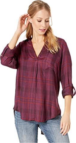 Plaid V-Neck Top with Crisscross Back