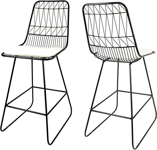 Christopher Knight Home 307604 Lilith Counter Stools 26 Seats Modern Geometric Black Iron Frames With Ivory Cushion Set Of 2