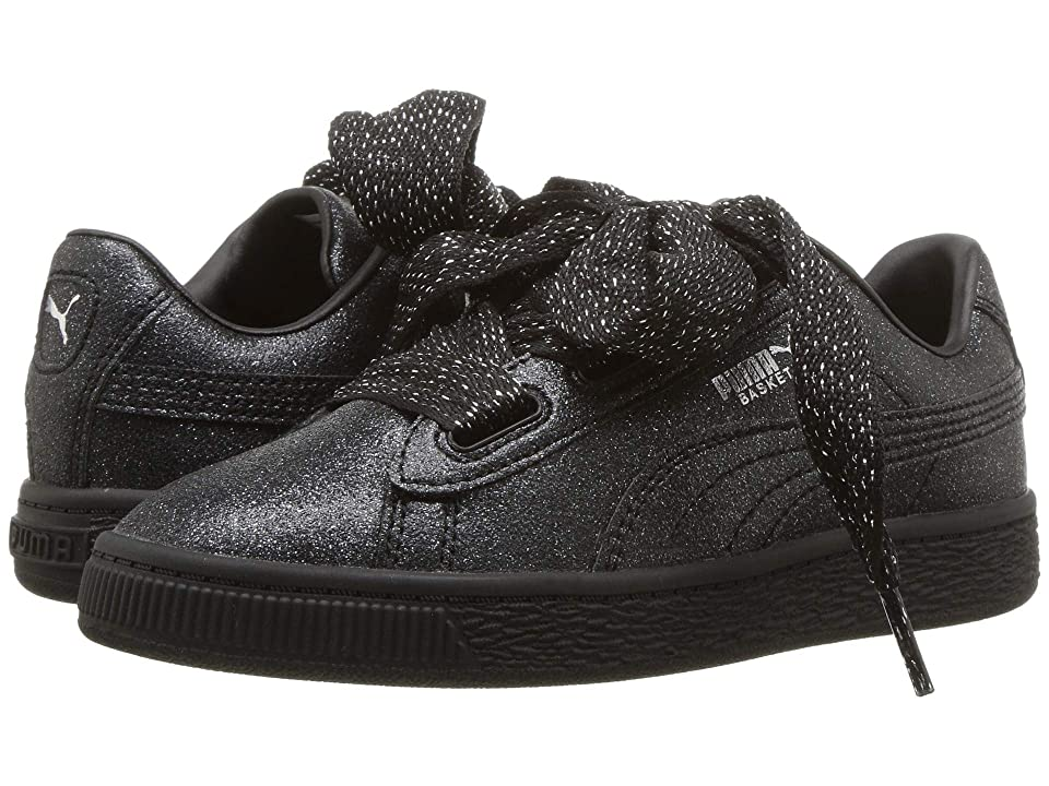 Puma Kids Basket Heart Holiday Glamour PS (Little Kid) (Puma Black/Puma Silver) Girls Shoes