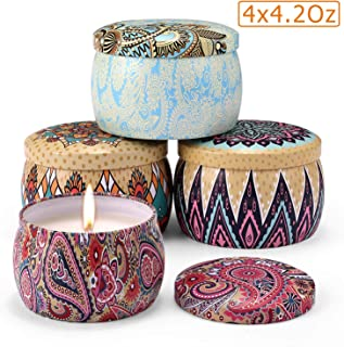 Aromama Scented Candles, Natural Soy Wax Portable Travel Tin Aromatherapy Candle Gift Set, Jasmine, Lotus, Lilac, Gardenia, 4 x 4.2 Oz Pack of 4