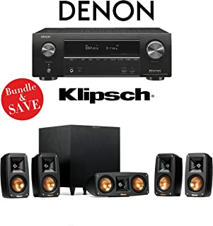 Denon AVR-X1500H 7.2-Channel 4K Ultra HD Networking AV Receiver with Klipsch Reference Theater Pack 5.1 Surround Sound System