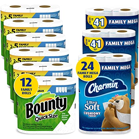 Charmin Ultra Soft Cushiony Touch Toilet Paper, 24 Family Mega Rolls and Bounty Quick-Size Paper Towels,12 Family Rolls, Bundle