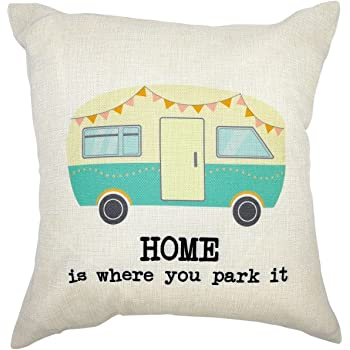 Arundeal Decorative Throw Pillow Case Cushion Covers, 18 x 18 Inches, Camper RV with Quote Home is Where You Park It, Cotton Linen, for Camping Decor