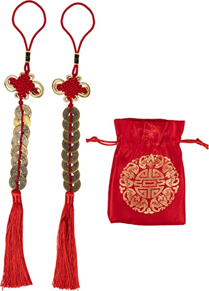 Juvale Chinese Feng Shui Coin 2 Pack Chinese Knot Feng Shui Lucky Coin With Red Ribbon And Bag Fortune Coin For Wealth And Success Chinese New Year Decoration 8 Coins 14 5 X 2 Inches