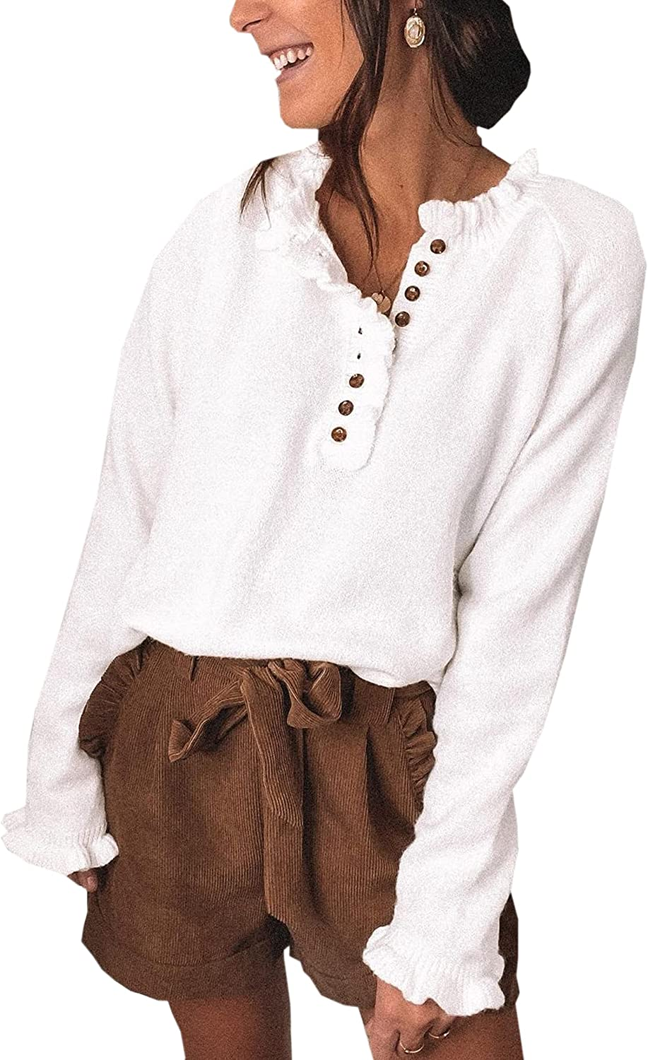 ECOWISH Womens Crew Neck Long Sleeve Oversized Sweaters Casual Solid Color Button Down Sweater Ruffle Knit Pullover Tops
