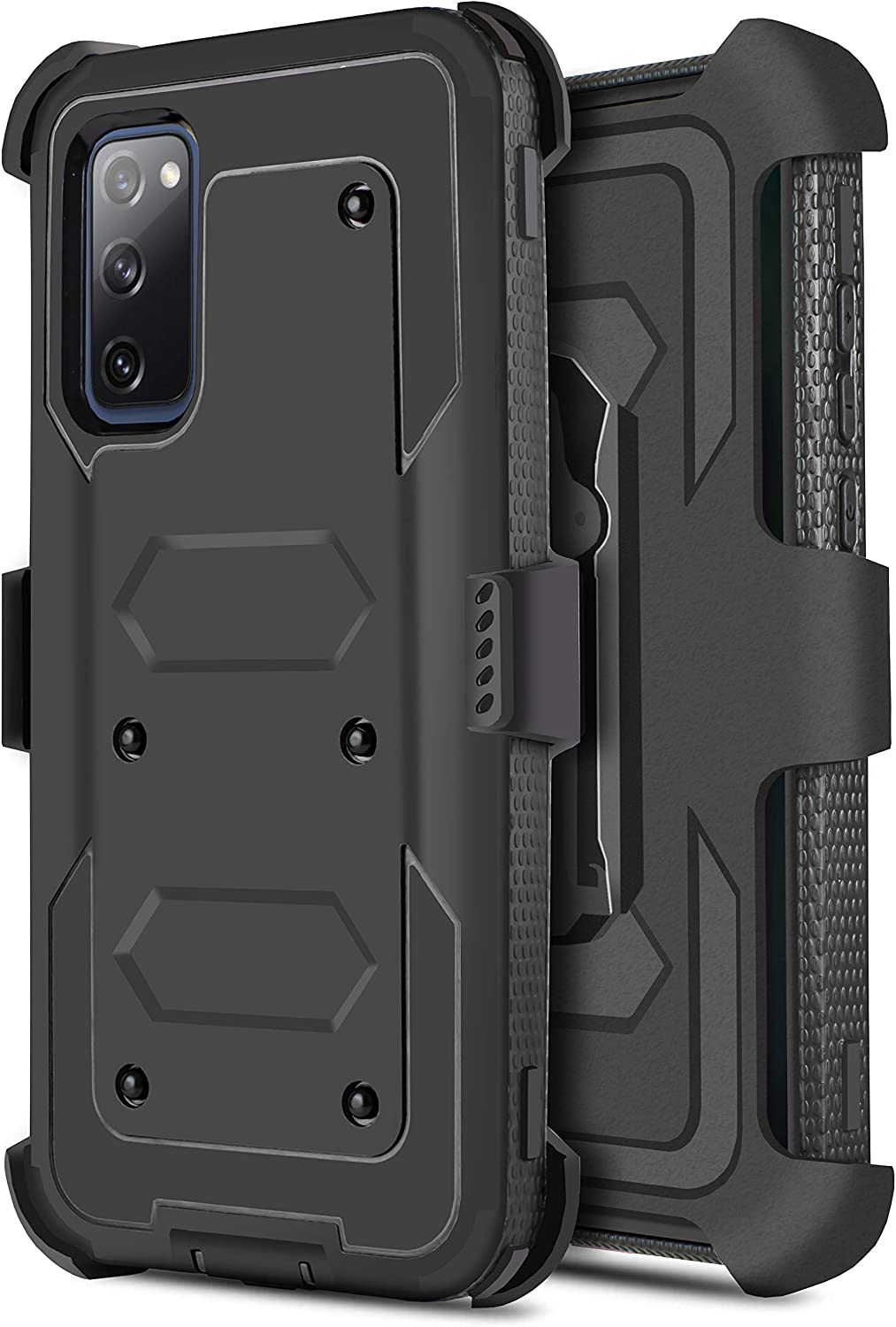 Customerfirst for Samsung Galaxy S20 FE [Built-in Screen Protector] Holster Belt Swivel Clip Kickstand Heavy Duty Full Body Armor Shockproof Protective Case for Galaxy S20 Fan Edition (Black)