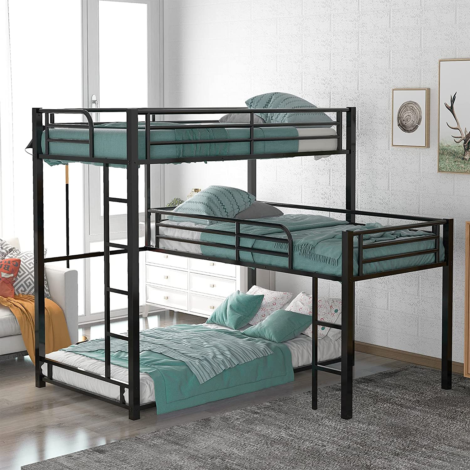 Finally resale start L-Shaped Metal Triple OFFicial site Twin Bunk Bed Size