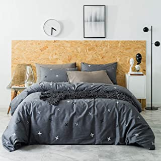 YuHeGuoJi 3 Piece Duvet Cover Set 100% Cotton Grey Queen Size Cross Print Bedding Set 1 Geometric Duvet Cover with Zipper Ties 2 Pillow Cases Luxury Quality Lightweight Comfortable Easy Care