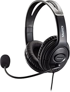 USB Headset Headphone for Skype Call Center with Noise Cancelling Microphone Voice Recognition for Drangon Voice Speech Dictation Microsoft Lync with Volume Controller Mic Mute and Call Button