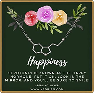 KEDRIAN Serotonin Necklace, 925 Sterling Silver, Happiness Necklace, Molecule Necklace for Women, Ideal Necklaces for Science Lovers, Science Gifts for Women