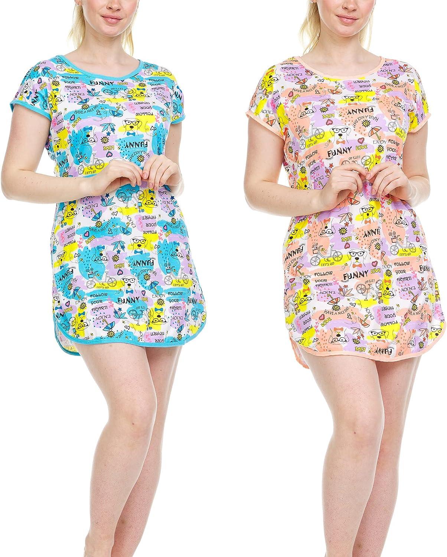 Ezi Women's Night Lounge Sleep Shirt Short Nightgown 2-Pack