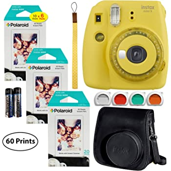 Fujifilm Instax Mini 9 Instant Camera (Yellow with Clear Accents), 6 x Packs 10 Prints Instant Film (60 Sheets), and Instax Groovy Case Bundle