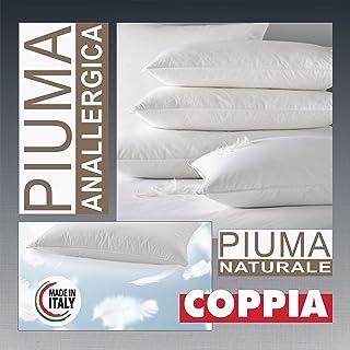 Evodreams Nuovo Coppia Guanciali in Piuma D'Oca 100% con Tessuto in Puro Cotone a Tenuta Piuma - Igienico e antiallergico ...