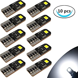 LABBYWAY 10 x T10 Wedge 194 168 W5W LED Bulbs, Super Bright 2-2835 Chipset, CAN-Bus Error Free, Interior Lights, License Plate Dome Map Door Courtesy Park Lights,Xenon White