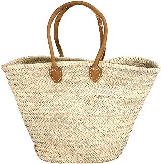 Moroccan Straw Market Bag w/Long Brown Leather Strip Handles - 20