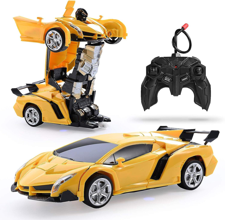 Colmanda Ferngesteuertes Verformungssportwagen Modellauto RC Auto Rennauto Spielzeug Fahrzeug f/ür Kinder 360/° Transformator Roboter Automodell One-Key-Verformung Fernbedienung Auto-Blau