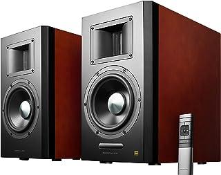 AirPulse A300 aktiv bokhylla bluetooth HiRes ljudhögtalarsystem med signatur Phil Jones design – körsbärsträ