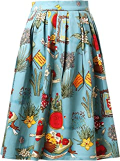 CL6294 Women's Rockabilly Skirt A Line Vintage Retro Skirt Swing Skirts