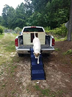 Upgraded Nonslip Car Dog Steps, Portable Metal Fram Large Dog Stairs for High Beds, Trucks, Cars and SUV, Lightweight Folding Pet Ladder Ramp with Wide Steps can Support 150 Lbs Large Dogs, Navy