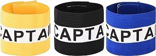 CM Pack of 3 Team Training Adjustable Elastic Captain Armband for Soccer, Team Sports