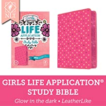 Tyndale NLT Girls Life Application Study Bible, TuTone (LeatherLike, Pink/Glow), NLT Bible with Over 800 Notes and Feature...